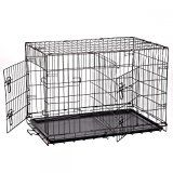 New Extra Large 48 Folding Pet Dog Cat Crate Cage Kennel With Plastic Tray W/Divider