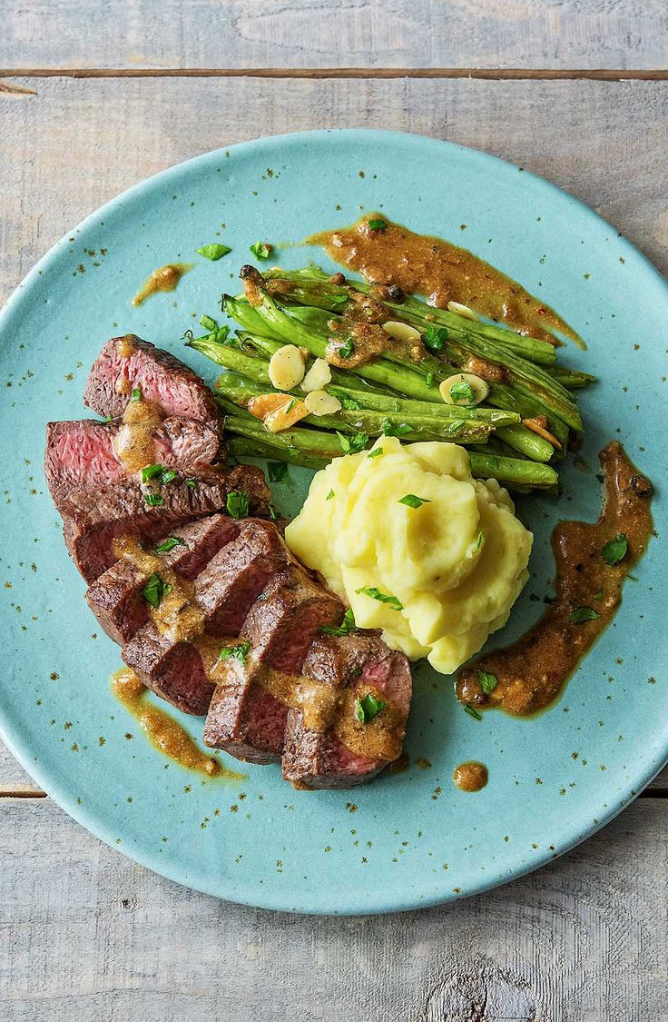 New York Strip Steak with Truffled Mashed Potatoes and Green Beans Amandine | More delicious recipes on www.hellofresh.com