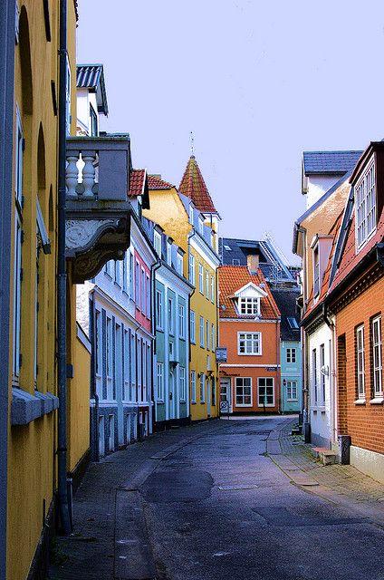Danish Houses in Aalborg, Jutland, Denmark