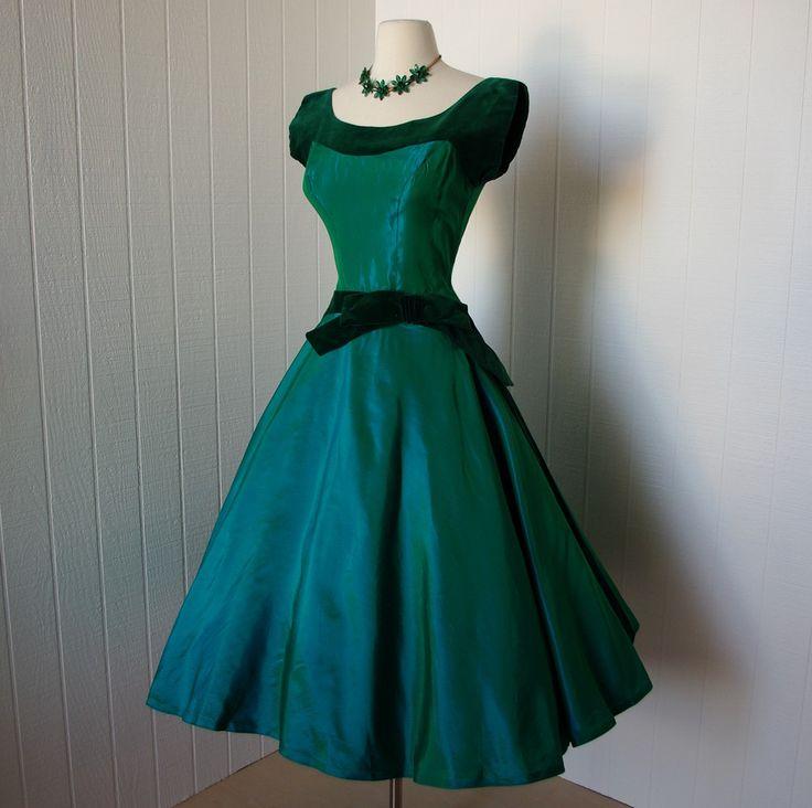 vintage 1950s dress  emerald green satin and velvet dress
