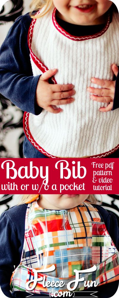 Love this bib pattern - actually it's two! One large bib, and one with a pocket to catch food - genius! Plus she has a video tutorial that explains it! Great sewing DIY idea. Love this sewing project.