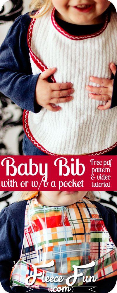 Free Baby bib pattern pdf with pocket tutorial photo on www.fleecefun.com