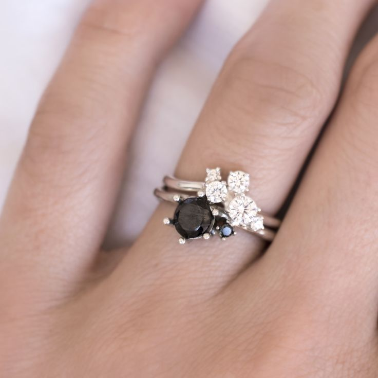 Diamond Cluster ring combined wit Double Black Diamond bespoke ring made by 27JEWELRY / love them for its organically shaped bands that stack together perfectly
