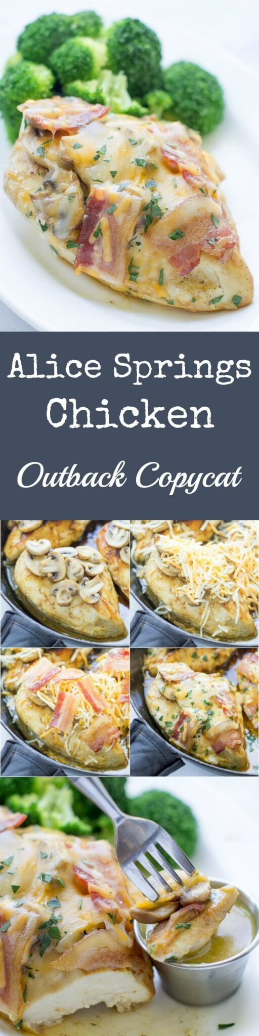 This copycat Alice Springs Chicken from Outback Steakhouse combines honey mustard sauce with buttery mushrooms and bacon, all smothered in way too much cheese. AKA The Most Delicious Way To Eat Chicken Known to Man.