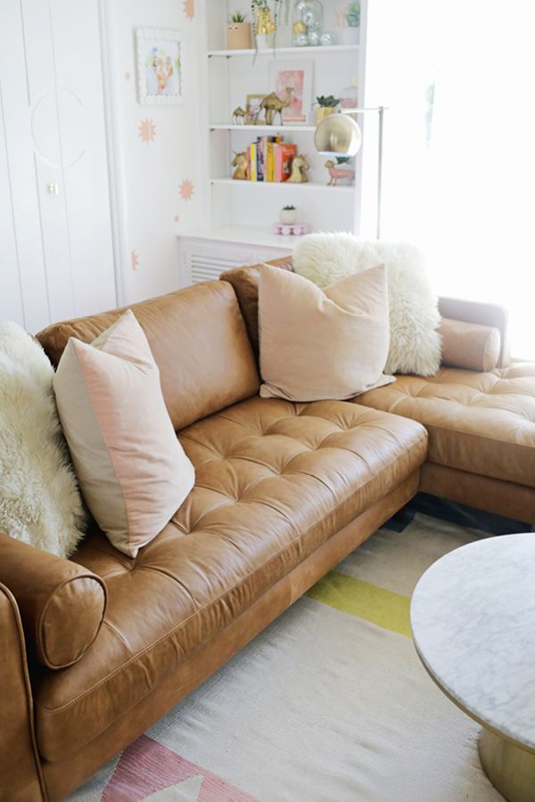Sven Charme Tan Right Sectional Sofa Cheap Living Room Furniture Leather Furniture Furniture