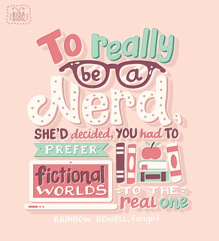 """risarodil: """" I have SO MANY illustrated YA quotes to post this month, starting with this Fangirl quote by @rainbowrowell! This is also a teaser for an exciting project I recently did for Uppercase. I'm SO excited to share it soon. It was my personal..."""