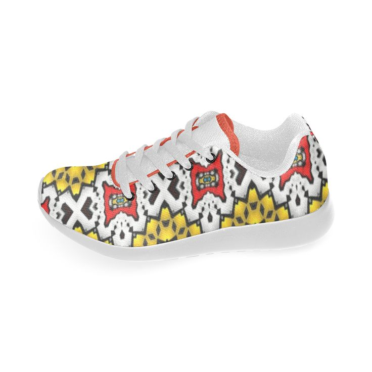 yellow mist Custom Brand New Running Shoes for Women.made od an fractal pattern created by #annabellerockz