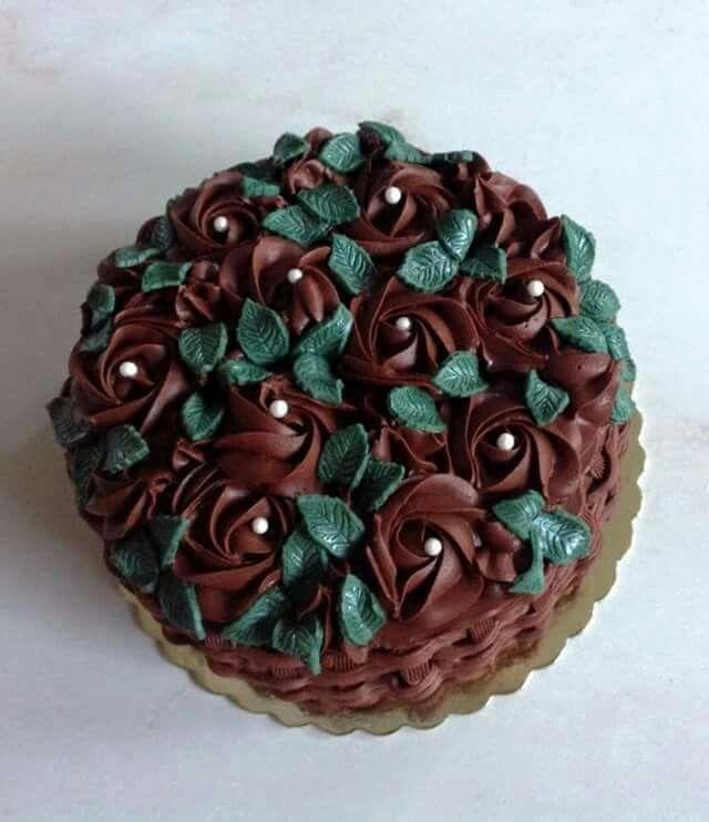 Chocoholic rosette & leaf cake
