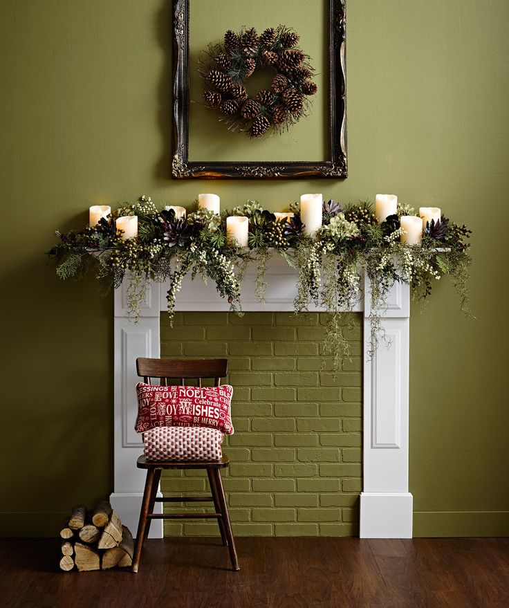 How can you keep a mantle display fresh all year long? Start with a strong frame foundation - simple mantle, flameless candles and timeless artificial evergreens. Add red berries and ornaments in December to herald Christmas. Switch out the berries for snowflakes or silver and gold accents to ring in the New Year. Usher in spring by swapping the options are endless.