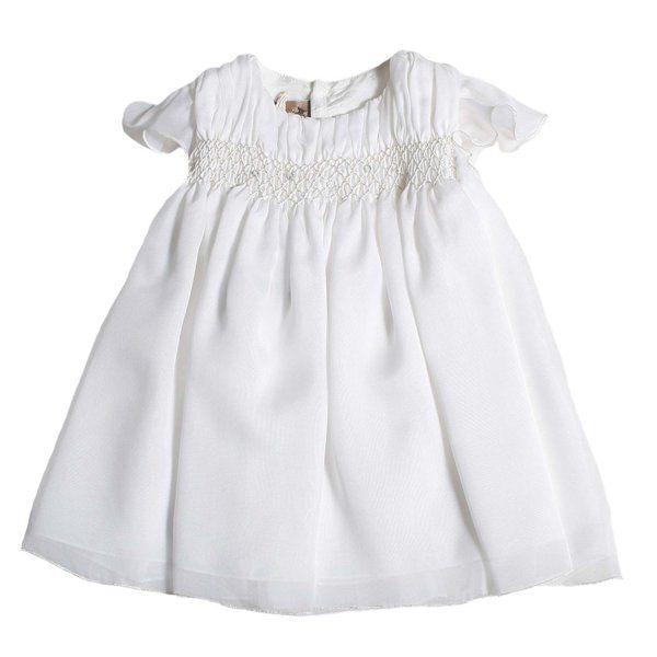 Abito bianco da cerimonia, autentico made in Italy della nuova linea di abbigliamento Bebè e Bambina firmata La Stupenderia-Collezione Primavera Estate 2017. #abbigliamentobebè #abitocerimonia #abbigliamentobambina #abitobattesimo #battesimo