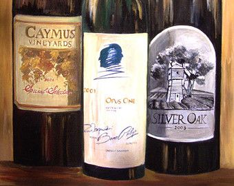 Wine painting Silver Oak of Napa Valley limited by SherisArtStudio