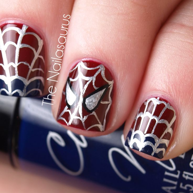 Spider-man. The Nailasaurus used Cult Nails Quench as a base, and then freehanded the tips with Cult Nails Time Traveller using a nail art brush. All the details are also freehanded. #CultNails #JointheCult