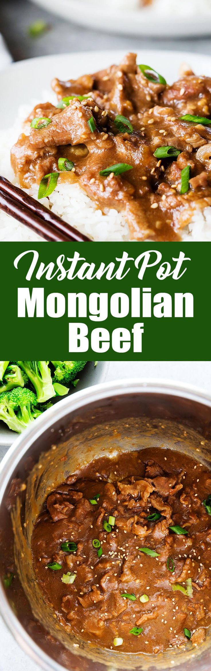 Super easy and delicious Mongolian beef cooked in the instant pot pressure cooker!  #instantpotrecipe #instantpot #beef #mongolianbeef #beefdinner #pressurecooker