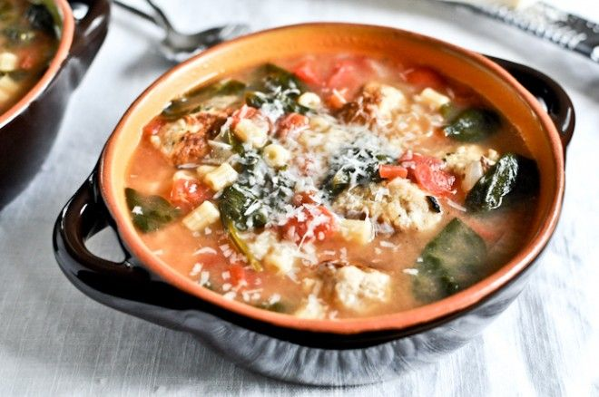 Mini Chicken Meatball Soup.