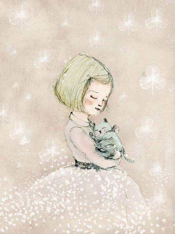 Trebol ,Limited Edition by Paola Zakimi; cats in art; kitten, cat