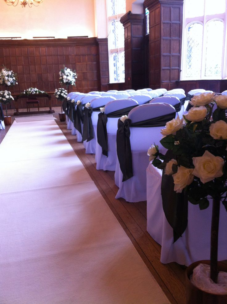 The Great Hall with chair covers ready for your wedding ceremony