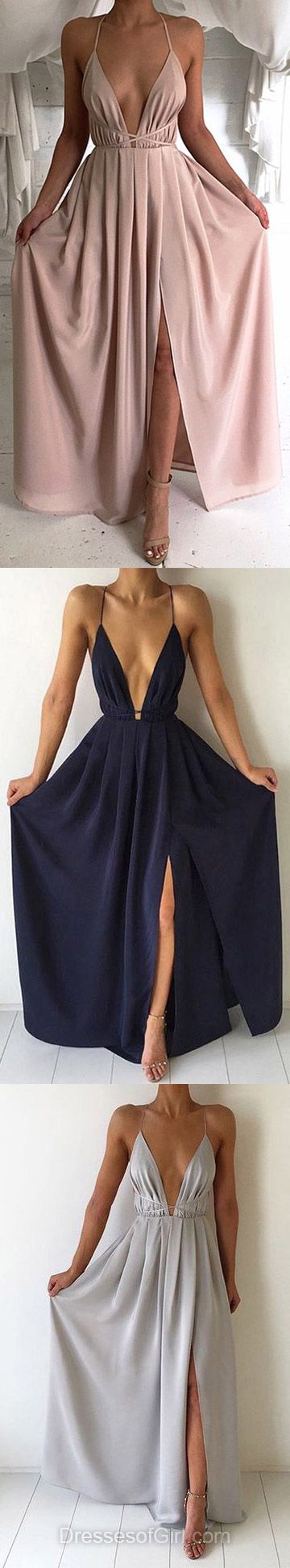 Sheath/Column V-neck Chiffon Floor-length Split Front Backless Hot Prom Dresses