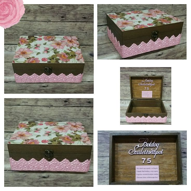 Birthday box with flower Decoupage Transfer Handmade DIY