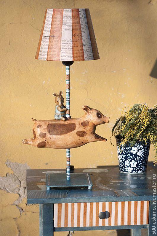 """Освещение ручной работы. Ярмарка Мастеров - ручная работа. Купить Лампа """"Свинка и тапир"""". Handmade. Лампа, светильник"""