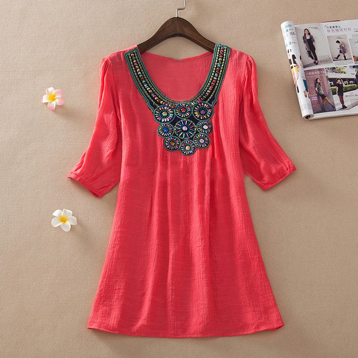 Lovely Breezy Detailed Embroidered Beaded Accent Gauze Fabric Lightweight Comfortable Cotton Top L-3XL 7 Colors