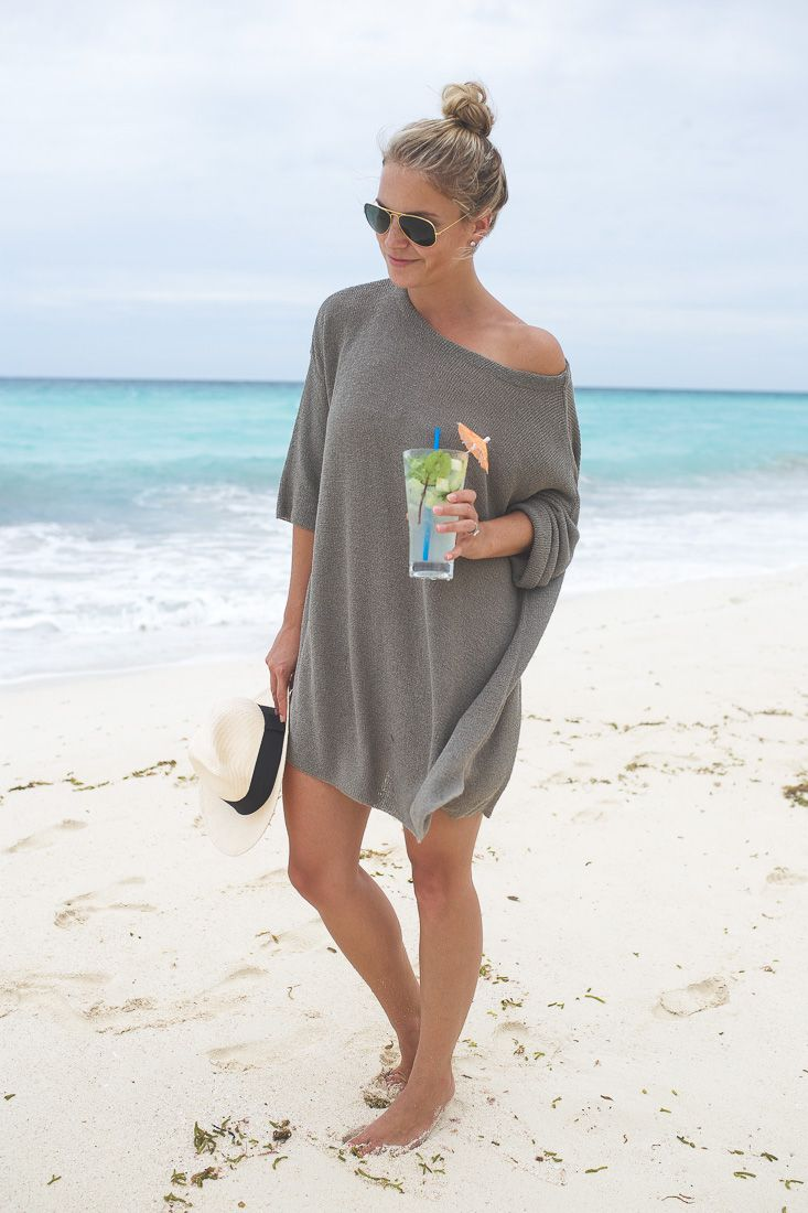TRAVEL GUIDE: THE RITZ CARLTON, CANCUN MEXICO - Styled Snapshots, off the shoulder sweater, beach cover-up, top knot, panama hat