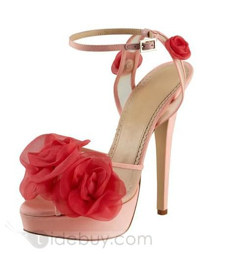 Pretty Pink High Heels Mesh Platform Peep Toe Women sandals