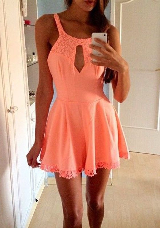 Pink Plain Lace Hollow-out U-neck Sleeveless Short Jumpsuit