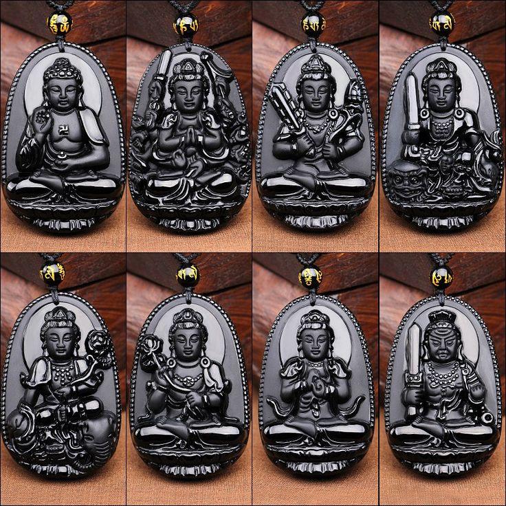 Natural Obsidian Pendant Eight Guardian Twelve Zodiac Natal Buddha Mascot Amulet Lucky Necklace Black Stone For Women Men  Small