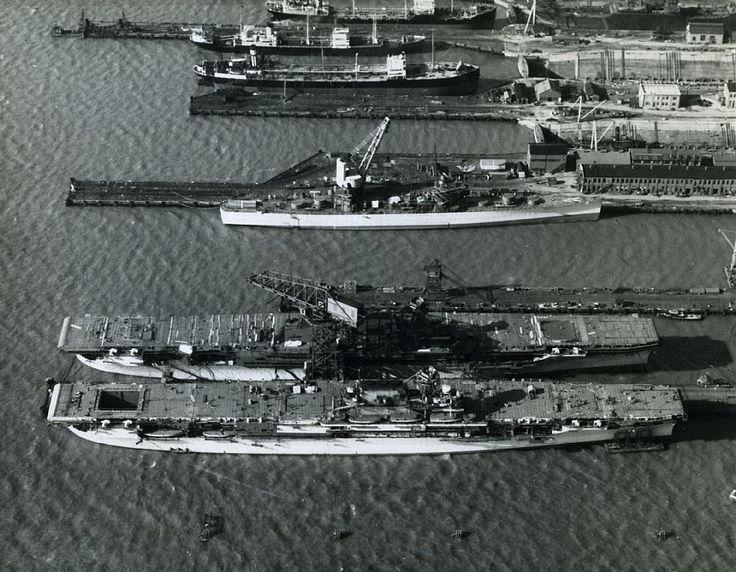 A two-ship Yorktown-class: The USS Yorktown (CV-5) and the USS Enterprise ( CV-6), seen at Newport News, Virginia - February 1937.