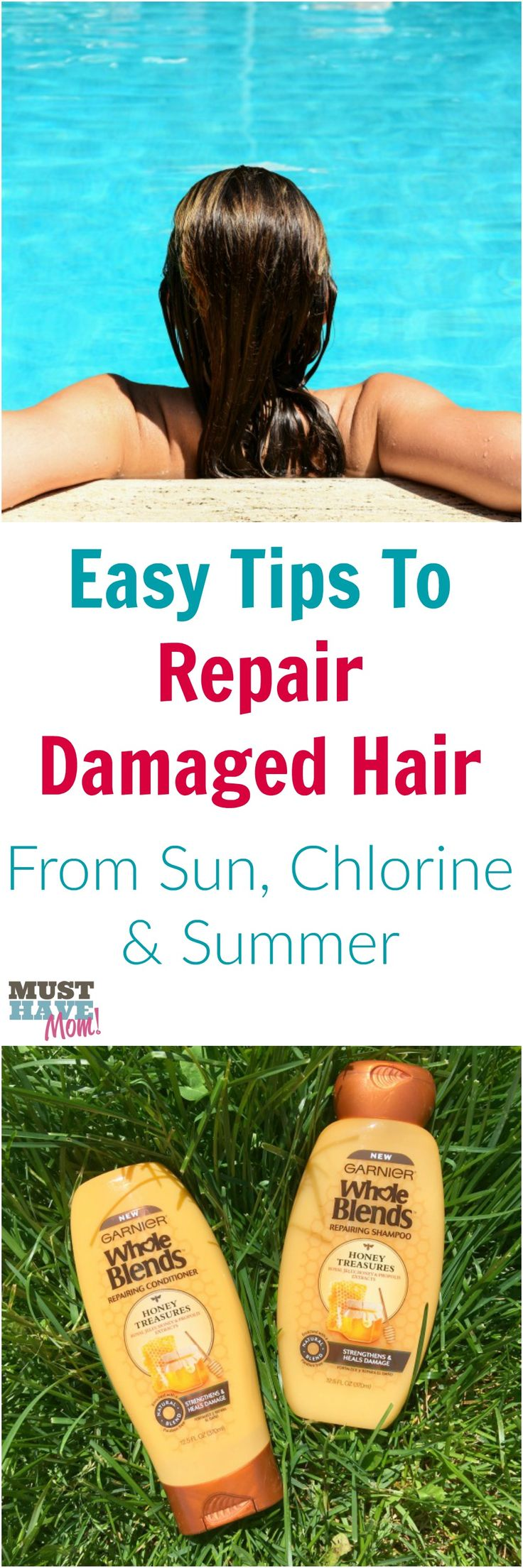 Easy way to repair hair that has been damaged by the sun or chlorine. Summer is hard on hair, use these easy tips to repair and restore your hair!