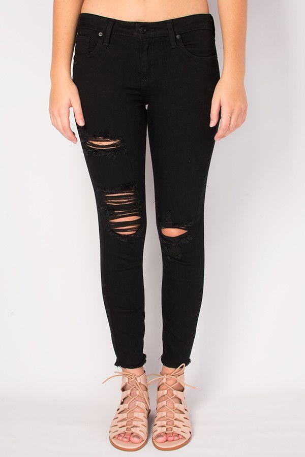 Just Black jeans- Distressed Fray Skinnies jeans - Black