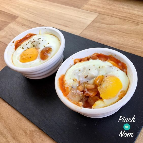 Bacon, Bean and Egg Bakes   Slimming World - https://pinchofnom.com/2016/05/bacon-bean-and-egg-bakes-slimming-world/