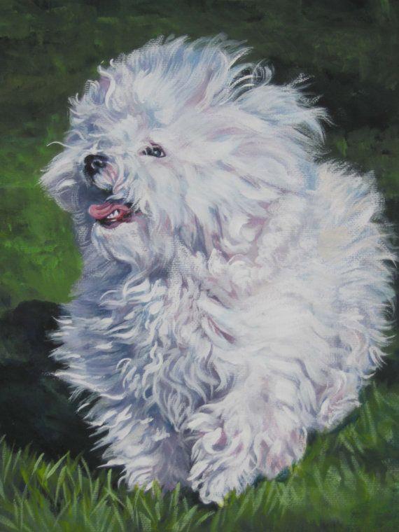 Bichon Bolognese art CANVAS print of LA Shepard painting 8x10 dog art on Etsy, $19.99