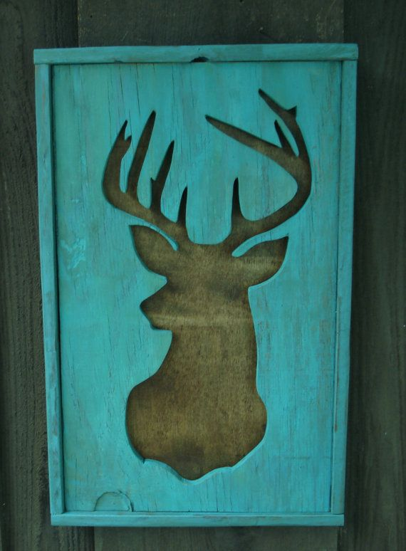 Deer Silhouette Wood Cutout Turquoise Picture By