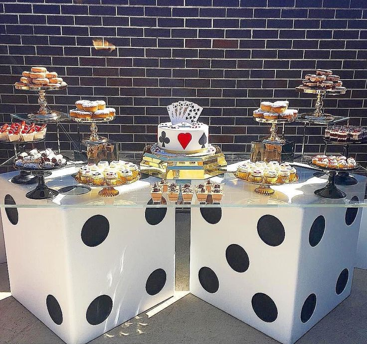 Close up of the dessert table from the casino themed birthday party styled by @elladee.events