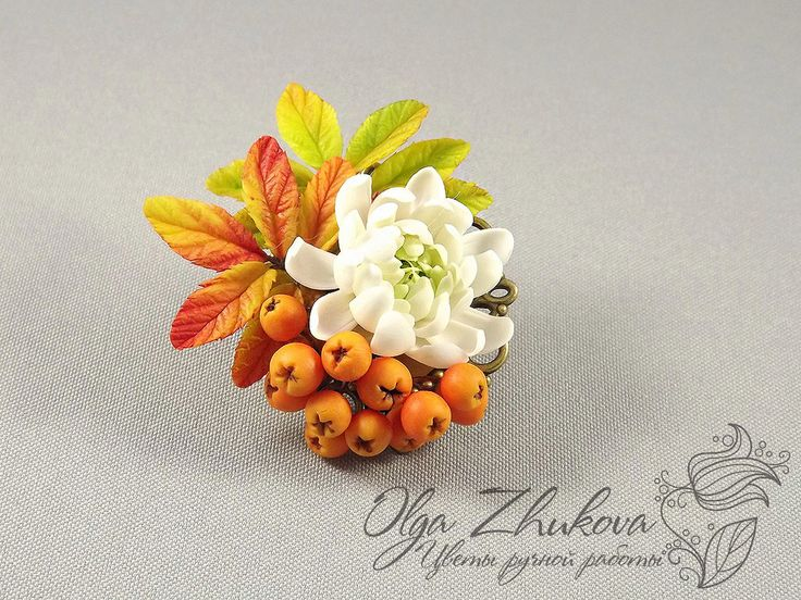 brooch with rowan  and chrysanthemum by polyflowers.deviantart.com on @DeviantArt