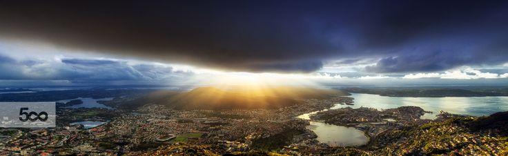 """Shot just before the golden hour on top of """"Mount Ulriken"""" in Bergen, Norway."""