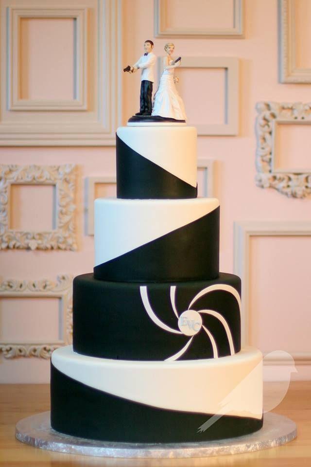 james bond inspired wedding cake, very cool
