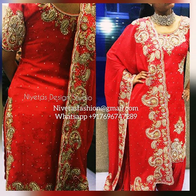 Hand embroidered zardozi work punjabi salwar suit.  Bespoke custom made salwar suits  For any inquiries Please email : nivetasfashion@gmail.com . We Ship Worldwide We are Located in jalandhar Punjab   To book your order please email : nivetasfashion@gmail.com  #indianwear #bridalwear #bollywood #punjabisalwarsuits  #indianbride #desicouture #salwarkameez #indianfashion #designerwear #exclusive #desifashion #anarkali #lehengas #weddingsutra #indianwedding  #indianweddingbuzz #kundan…