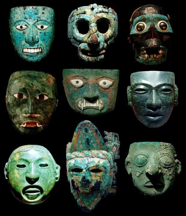 Pre-Columbian Masks. [Central/South America, apparently various media - stone, metal, ceramic. JE]