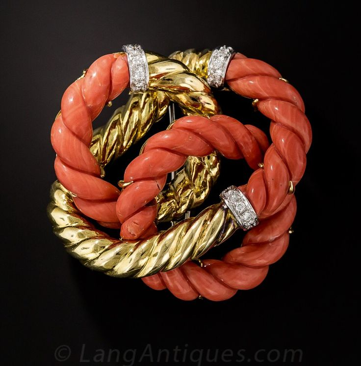 Coal, Diamond and Gold Knot Brooch