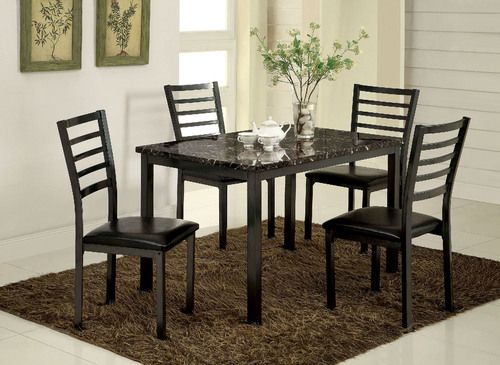 5 PC Furniture of America Colman Dining Table Set CM3615T