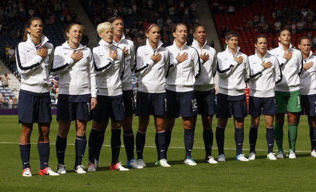 USA Women's soccer team. #USWNT #Goldorbust (I'll be proud of them regardless)