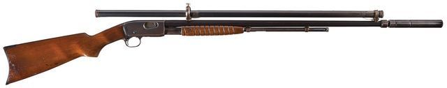 """Remington Model 12 No.2 """"Gallery Special"""" rifle Manufactured by Remington Arms Inc c.1909-36, fitted with a Maxim 'Silencer' suppressor and a Stevens scope..22RF Short 15-round tubular magazine, slide action, hammerless. http://riflescopescenter.com/category/bushnell-riflescope-reviews/"""