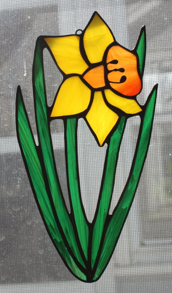 Stained Glass Daffodil Suncatcher