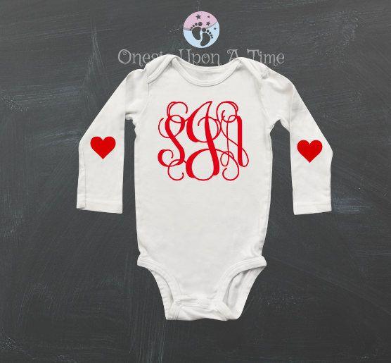 Valentines Baby Shirt - Newborn Baby Gift - New Baby, Valentines Onesie, Monogram Baby, Heart Elbows by ExpressYourselfbySta on Etsy