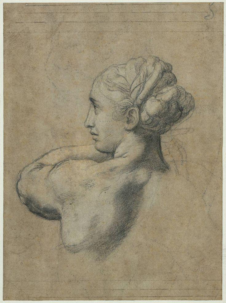 Head of a Woman - Raphael, 1517, black chalk, 33 x 24 cm