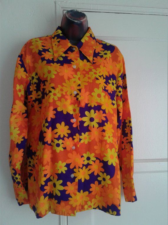 70s Flower Power Long Sleeve Collared Button Down