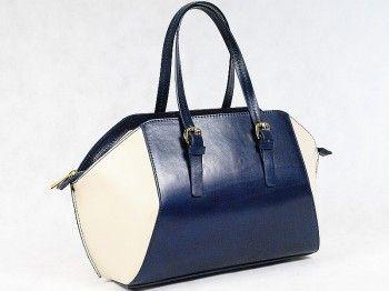 Kuferek damski Vera Pelle 5423  Pojemna włoska torebka w kształcie rombu wykonana z naturalnej skóry licowej w kolorze granatowym.Mieści format A4.