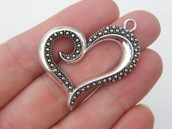 3 Heart pendants antique silver tone H20